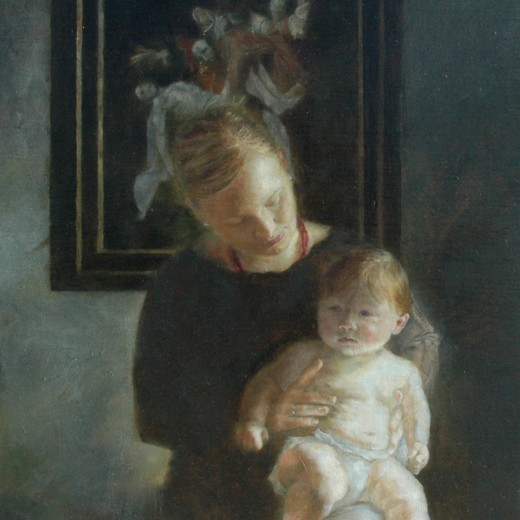 Mother and Child, oil on panel