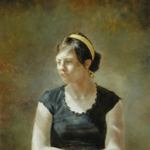 Yellow Ribbon, oil on panel, SOLD